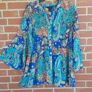 Investments II colorful &paisley print tunic,sz 2X